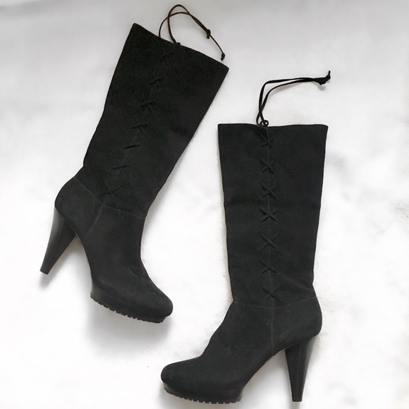 8b66a32f01 me too Shoes | Salenew Black Suede Tie Up Heel Boots | Poshmark